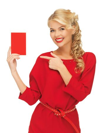picture of lovely woman in red dress with note card Stock Photo - 17093337