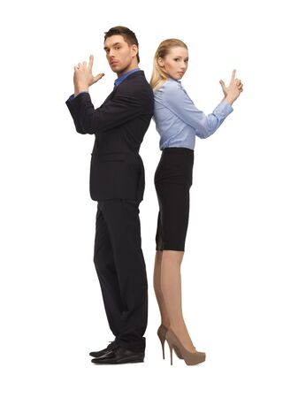corporate espionage: bright picture of man and woman making a gun gesture