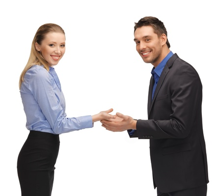 picture of man and woman showing something on the palms  photo
