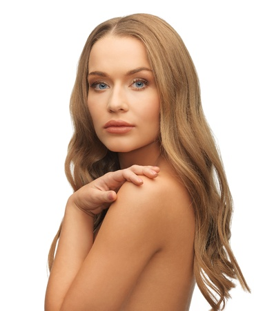 beautiful long hair: face and hands of beautiful woman with long hair Stock Photo