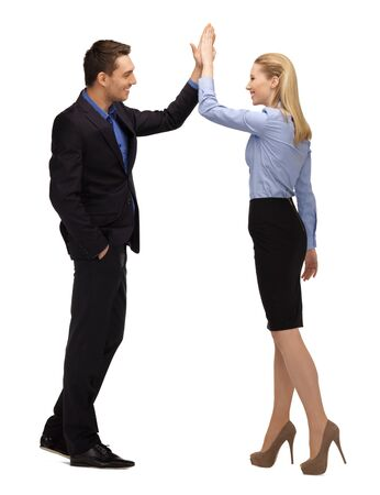 five: bright picture of man and woman giving a high five  Stock Photo