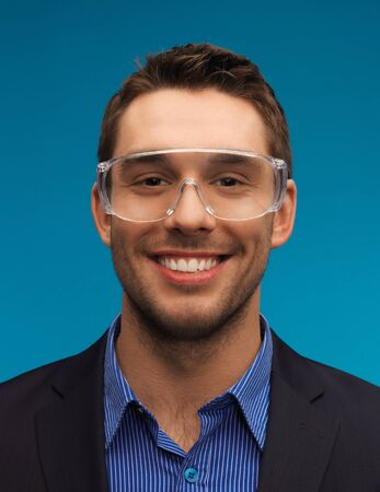 picture of handsome businessman in protective glasses  Stock Photo - 17165785