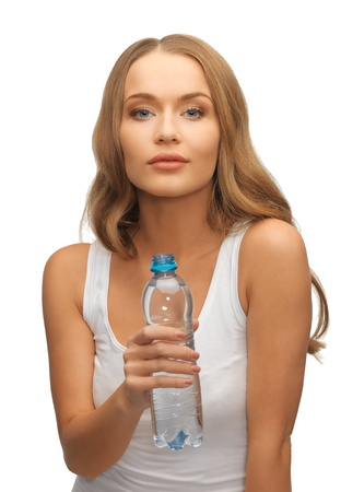 picture of young beautiful woman with bottle of water photo