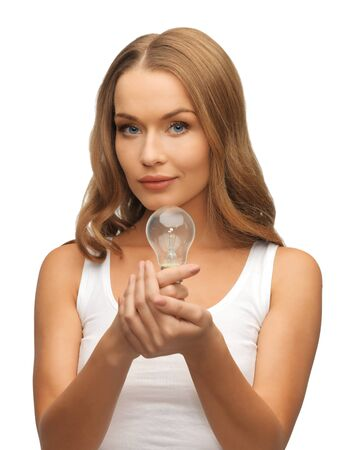 picture of beautiful woman with energy saving bulb Stock Photo - 17193768