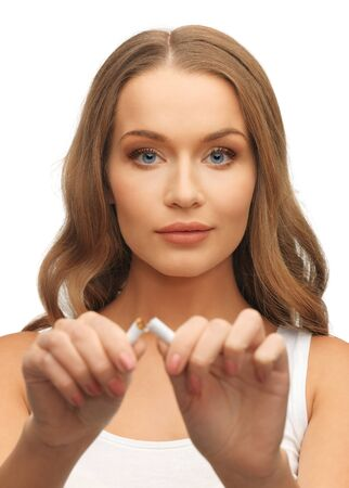 bright picture of beautiful woman with broken cigarette Stock Photo - 17193784