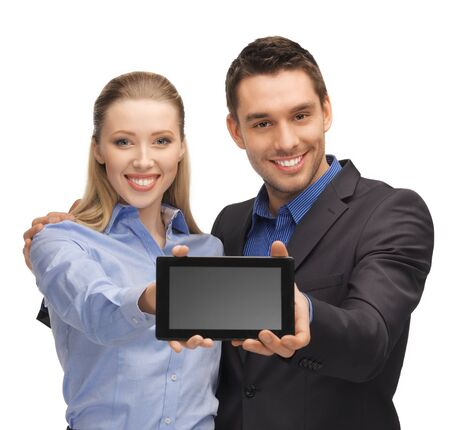 bright picture of man and woman with tablet pc Stock Photo - 17193767