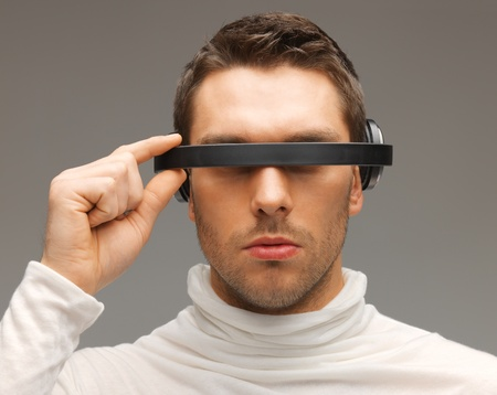 picture of handsome man with futuristic glasses  Stock Photo - 17237824