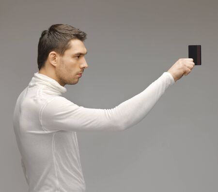 picture of futuristic man with access card  Stock Photo - 17237870