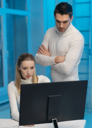 picture of man and woman in space laboratory Stock Photo - 17237835