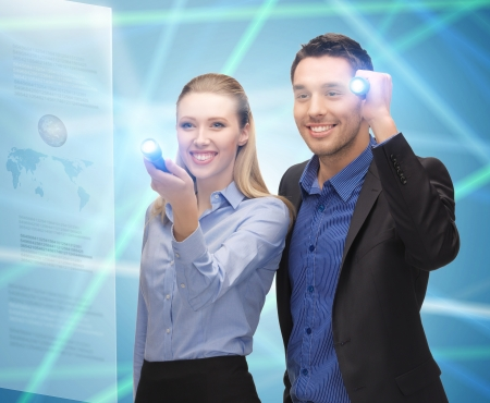 searh: bright picture of man and woman with flashlights