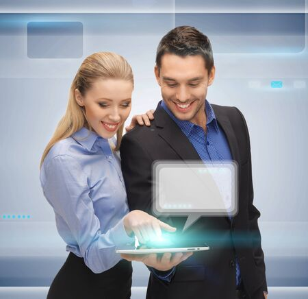 bright picture of man and woman with tablet pc photo