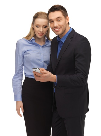 bright picture of man and woman reading sms Stock Photo - 17342961