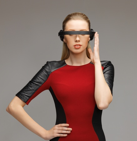 picture of beautiful woman with futuristic glasses Stock Photo - 17287865