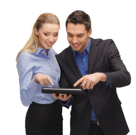 bright picture of man and woman with tablet pc Stock Photo - 17342956