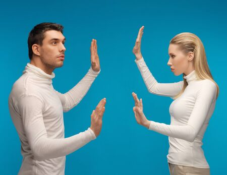 picture of man and woman working with something imaginary Stock Photo - 17287860