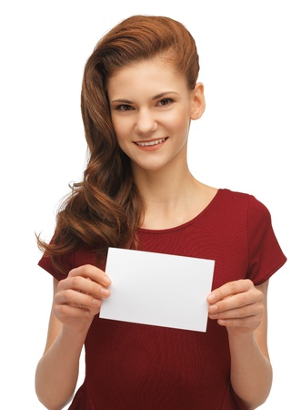 picture of lovely teenage girl with note card photo