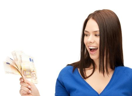 foto van mooie vrouw met euro contant geld Stockfoto