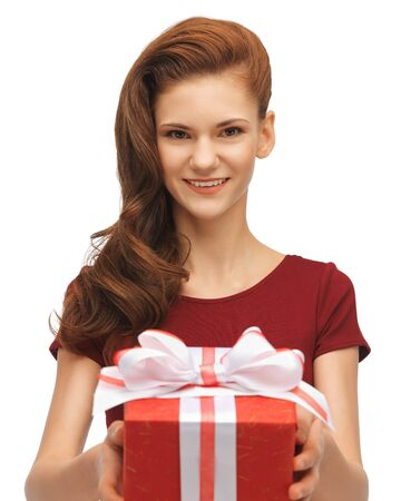 picture of teenage girl in red dress with gift box photo
