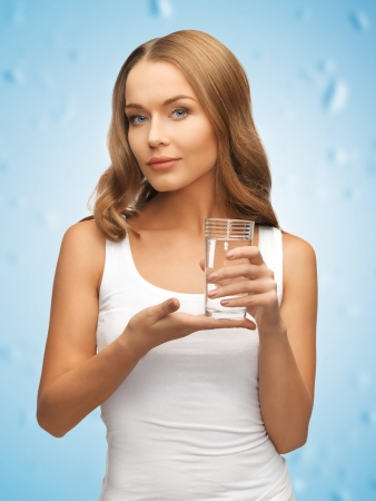 picture of beautiful woman with glass of water   photo