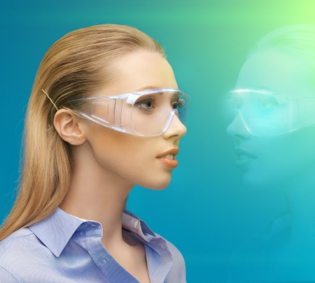 picture of woman in 3d glasses with hologram photo