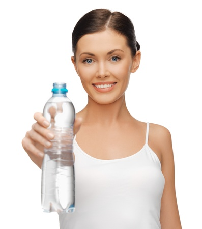 picture of beautiful woman with bottle of water photo