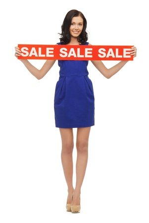 picture of lovely woman in blue dress with sale sign photo
