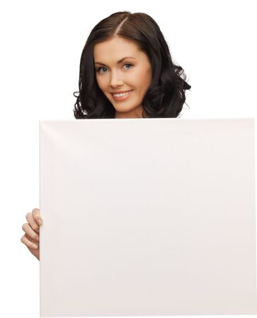 picture of lovely woman with blank board photo