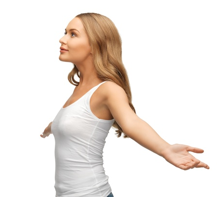 picture of happy and smiling woman spreading hands  photo