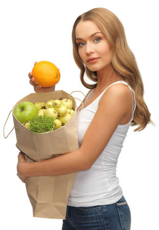 picture of woman with shopping bag and orange photo