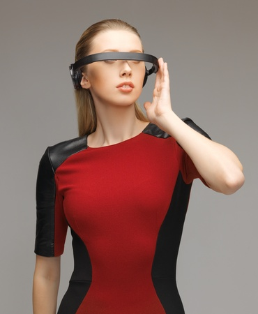 picture of beautiful woman with futuristic glasses Stock Photo - 17370212