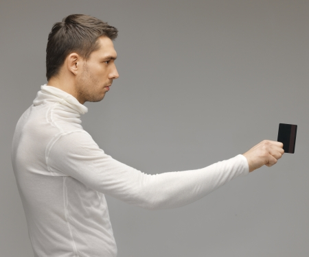 picture of futuristic man with access card Stock Photo - 17370236