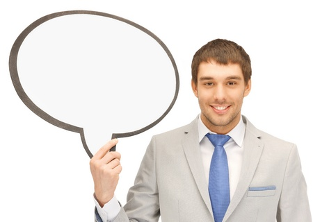 bright picture of smiling businessman with blank text bubble Stock Photo - 17370239