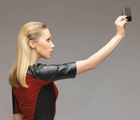 picture of futuristic woman with access card Stock Photo - 17450191