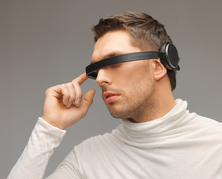 picture of handsome man with futuristic glasses Stock Photo - 17450169