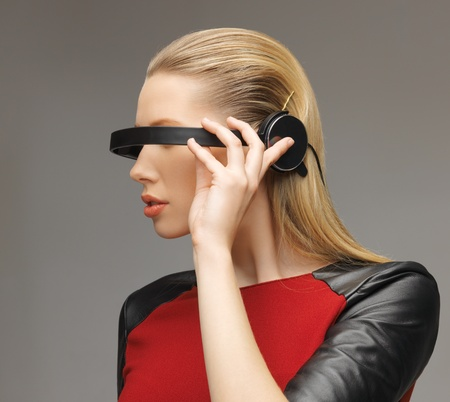 picture of beautiful woman with futuristic glasses Stock Photo - 17450160