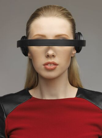 picture of beautiful woman with futuristic glasses Stock Photo - 17450170