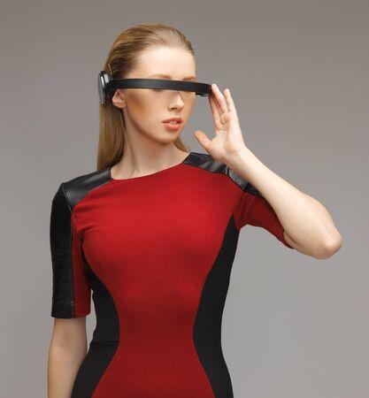 sensor: picture of beautiful woman with futuristic glasses Stock Photo
