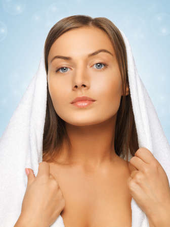 bright picture of beautiful woman in towel Stock Photo - 17480114