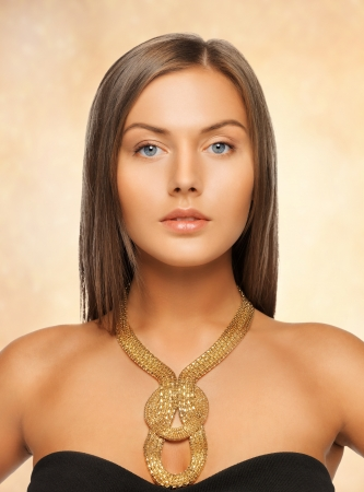 bright picture of beautiful woman with necklace photo