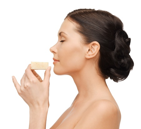 liquid soap: bright picture of beautiful woman with soap Stock Photo