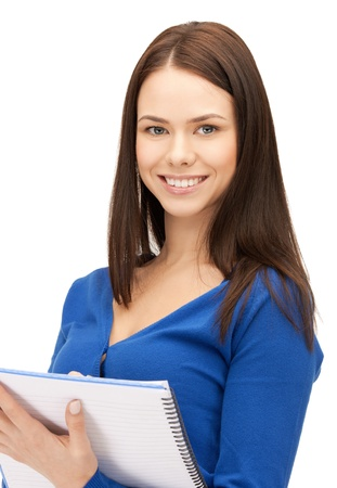 bright picture of attractive woman with notepad Stock Photo - 17480075