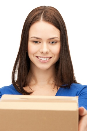 picture of happy woman with cardboard box photo