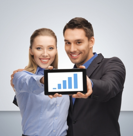 cashflow: bright picture of man and woman with tablet pc