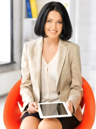 picture of happy woman with tablet pc computer Stock Photo - 17480011