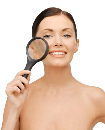 magnifier: bright picture of beautiful woman with magnifying glass