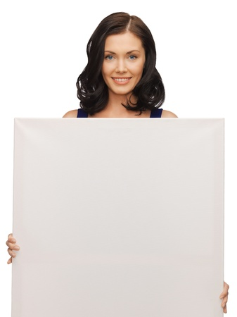 picture of lovely woman in blue dress with blank board Stock Photo - 17480048