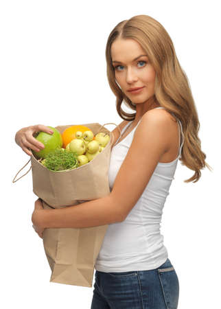 picture of woman with shopping bag full of fruits Stock Photo - 17480083
