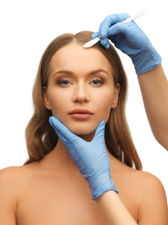 picture of woman face and beautician hands with scalpel Stock Photo - 17480019