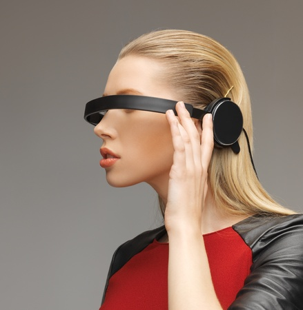 picture of beautiful woman with futuristic glasses Stock Photo - 17480112