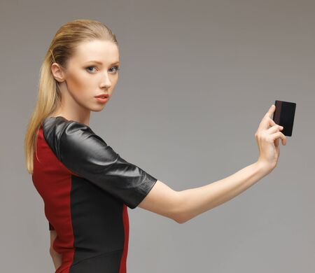 picture of futuristic woman with access card. Stock Photo - 17479989